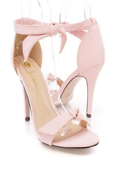 b6fa2836c33 Light Pink Suede Open Toe Bow Tie Strap High Heels