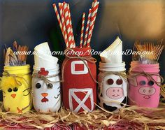 Old macdonald barn and farm animal themed mason jar set includes 1 quart and 4 pint animal jars birthday party centerpiece nursery decor farm animal puzzles with creativity! Cow Birthday, Farm Animal Birthday, 3rd Birthday Parties, Birthday Ideas, Farm Yard Birthday Party, Toddler Birthday Themes, Tractor Birthday, Birthday Banners, 1st Birthdays