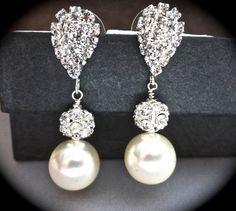 Pearl earrings // Ivory/cream // Chunky // Rhinestone // Fireballs // Elegant // Bridal Jewelry // Bridesmaids // Formal //  gift // on Etsy, $36.99