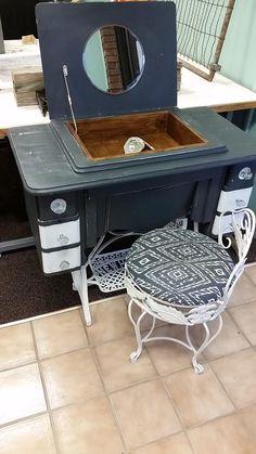 Re-purposed sewing machine turned vanity