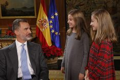 Princess Sofia Photos - In this handout picture provided by the Spanish Royal House, King Felipe of Spain, Princess Sofia and Princess Sofia are seen before the video recording during the Christmas message by King Felipe of Spain on December 24, 2017 in Madrid, Spain. - The Royal Week: January 22 - January 28
