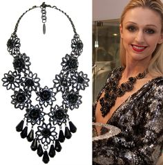 The dark side of floral! Karen McFarlane jet and gunmetal bib necklace available at Artemis Fashion Jewellery.