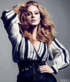 Adele wearing a Romanian blouse designed by Tom Ford. Vogue USA.-for hand-embroidered clothes created by Romanian artisans -online distributor http://www.iiana.ro/index.php?route=common/home