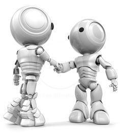 Two robots, slightly different in appearance, shaking hands. Good concept in teamwork or diversity.