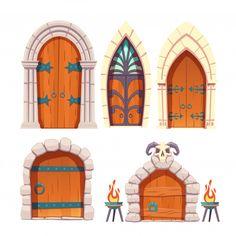dungeon castle medieval door vector illustrator freepik cartoon game adobe