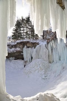 Frozen Minnehaha Falls - Located in Minneapolis, Minnesota - USA
