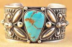 Navajo Sterling High Grade Natural Aztec Turquoise Cuff Bracelet By Andy Cadman