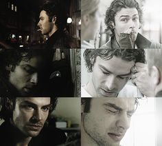 Aidan Turner as Mitchell, the vampire, on the BBC series Being Human--its the facw he makes in the very last panel, the bottom right that really gives the character depth. His is a life of conflicted sorrow.