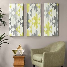 Yellow Sierra is a triptych set filled with simplicity and vibrancy. This Southwestern inspired pattern is formed by vivid hues of yellow, grey, and white. The triptych is printed on canvas and coated with a layer of gel coat for texture.