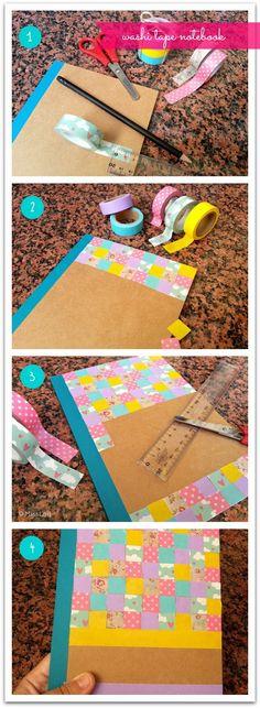 DIY molón: Cómo decorar una libreta con washi tape // libreta washi tape diy // How to decorate a notebook with washi tape diy
