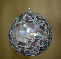 Disco Ball made from an old CD, Styrofoam, glitter and glue!
