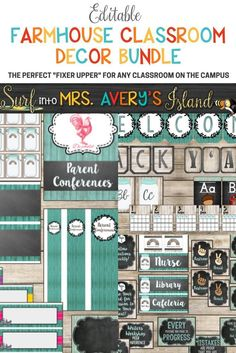 "This editable Farmhouse Classroom Decor Bundle is full of your back to school printables to help keep you organized throughout the school year!  If you are seeking new ideas on creating a farmhouse theme for your classroom, click the link and check out this shabby chic bundle!  There's no doubt Chip and Joanna would approve of your classroom ""Fixer Upper"" with this bundle of shabby shiplap and chalkboard backgrounds... natural woods and windmills, not to mention, Mason jars and many other  farm"