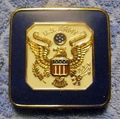Vintage U.S. Army Souvenir Powder Compact, About 2 Inches Square.