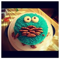 Cookie Monster cookie cake design