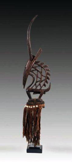 "Africa   Antelope dance crest ""tji-wara"" from the Bamana people of Mali   Wood, beads and vegetal fiber"