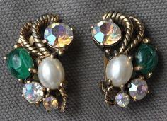 vintage signed SCHIAPARELLI Rhinestone AB faux pearl green glass gold EARRINGS #Schiaparelli