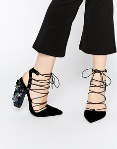 Strappy Statement Heels from ASOS..black velvet lace up pointed toe heels with iridescent embellishment...different and gorgeous!