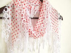 heart scarf - scarf accessories- chiffon scarf -white scarf- scarf sale- scarf shop-woman scarves - pinned by pin4etsy.com