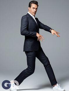 Jon Hamm by Sebastian Kim for GQ, April 2015 Gq Usa, Suits And Sneakers, Tennis Whites, Sebastian Kim, Dolce Gabbana Sneakers, Don Draper, Jon Hamm, Suit Up, Pinstripe Suit