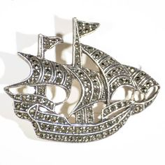 Silver and marcasite ship brooch sterling by TouchstoneVintage