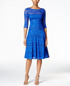 79.00$  Watch now - http://viile.justgood.pw/vig/item.php?t=cswxbqu24281 - Sequined Illusion Lace Fit & Flare Dress