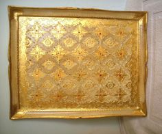 Italian Florentine Serving Tray Gold Gilt Cream Red 12' by 10'