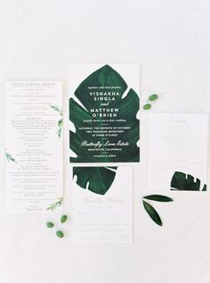 Minted wedding stationery, green and white wedding invitation suite, palm leaf invitation, Catholic wedding