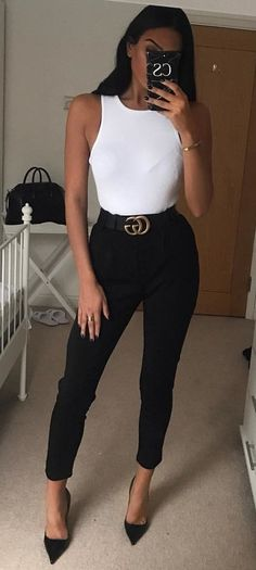 #winter #outfits white tank top, black Gucci belt, and black skinny jeans #Blackskinnies