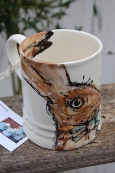 Hare mug, hand painted, earthenware £15.00
