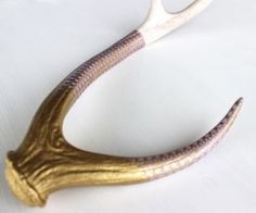 Deer Antlers : Gold and Purple Lace Pattern Painted Antler by PivotHandmade on Etsy