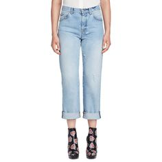 Alexander Mcqueen Cuffed Denim Boyfriend Jeans (29,560 INR) ❤ liked on Polyvore featuring jeans, light denim, cuffed straight leg jeans, cuff jeans, blue jeans, boyfriend jeans and alexander mcqueen jeans