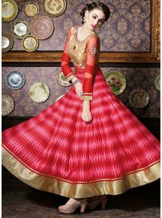 Traditional Red Colour Ikat Print Top On Zurich Silk Anarkali Suit-4701