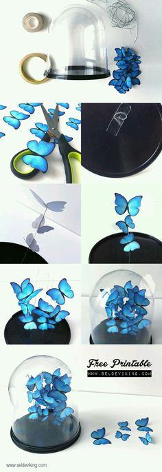 diy crafts for bedroom Cool Turquoise Room Decor Ideas - DIY Butterfly Decor - Fun Aqua Decorating Looks and Color for Teen Bedroom, Bathroom, Accent Walls and Home Decor - Fun Crafts and Wall Art for Your Room diyprojectsfortee. diy crafts for bedroom Diy Papillon, Diy Butterfly Decorations, House Decorations, Decoration Crafts, Paper Decorations, Turquoise Decorations, Decoration Party, Fun Crafts, Diy And Crafts