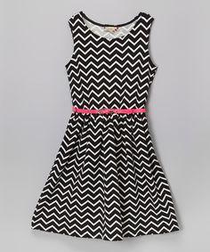 Loving this Black & White Chevron Print Dress - Girls on #zulily! #zulilyfinds