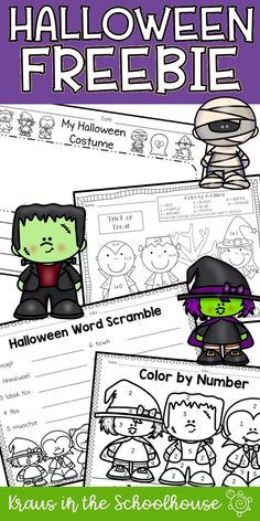 FREEBIE for HALLOWEEN! Are you celebrating Halloween in your classroom? These sheets will provide your students with activities to complete. Students will participate in writing activities including poetry, vocabulary activities, and math activities. Vocabulary Activities, Kindergarten Activities, Writing Activities, Classroom Activities, Kindergarten Freebies, Halloween Worksheets, Halloween Activities, Autumn Activities, Halloween Crafts Kindergarten