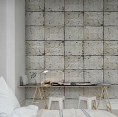 love the wall! looks like pressed metal