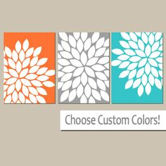 Orange Gray Turquoise Bedroom Wall Art Canvas or by TRMdesign