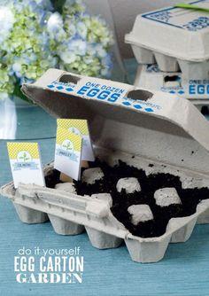 Egg Carton Garden with free printables  {One Charming Party}