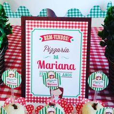 Decoração de mesa para Festa Pizzaria - enfeites personalizados