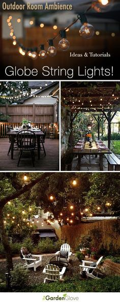 9 Stunning Ideas for Outdoor Globe String Lights! - Outdoor Lighting - Ideas of Outdoor Lighting - Outdoor Room Ambience: Globe String Lights! Tips Ideas and Tutorials! Outdoor Rooms, Outdoor Gardens, Outdoor Decor, Outdoor Pergola, Outdoor Furniture, Outdoor Patio Decorating, Deck Decorating, Outdoor Kitchens, Outdoor Dining