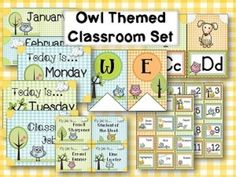 Wonderful collection of owl themed classroom décor.  $