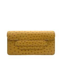 Maman Mini Yellow - Ostrich Leather Crossbody Bag | MIRTA