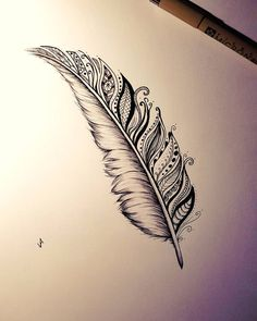 Plume, You can find Feather tattoos and more on our website. Feather Drawing, Feather Tattoo Design, Feather Art, Flower Tattoo Designs, Flower Tattoos, Mandala Feather, Bird Tattoos, Feather Pen Tattoo, Henna Feather