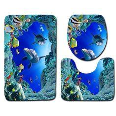 Blue Ocean Deep Sea Dolphin Waterproof Bath Shower Curtain Non Slip Carpet Set Pedestal Carpe In 2020 Bath Mat Sets Toilet Covers