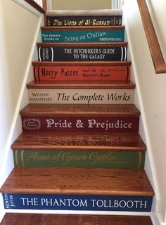 "<a href=""https://www.etsy.com/listing/160408135/two-or-more-book-stairs-diy-vinyl-decals"" target=""_blank"">Decals</a> to turn your stairs into a giant library."