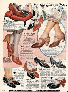 1925 Sears Catalog http://www.pinterest.com/susaneversden/shoes/  Bring back these heels...I can wear these without breaking an ankle.