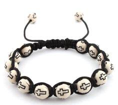 White with Black Cross Beaded Adjustable Bracelet Macrame Shamballah for only $0.01