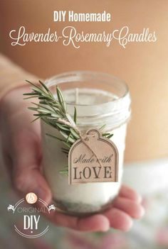DIY Homemade Lavender-Rosemary Candles | 10 DIY Soy Candles You Will Love, see more at http://diyready.com/diy-soy-candles-10-addictive-scents-you-will-love