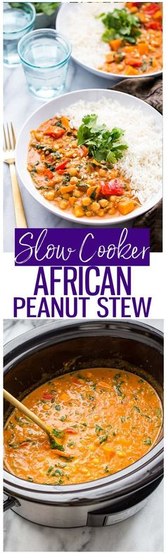 recipes crockpot Slow Cooker African-Inspired Peanut Stew is a hearty chickpea and sweet potato c. Slow Cooker African-Inspired Peanut Stew is a hearty chickpea and sweet potato curry Vegan Slow Cooker, Slow Cooker Recipes, Crockpot Recipes, Soup Recipes, Vegetarian Recipes, Whole Food Recipes, Cooking Recipes, Healthy Recipes, Vegetarian Cooking