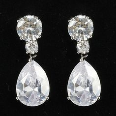 Simple Platinum Plated With Zircon Women's Drop Earrings – USD $ 13.59